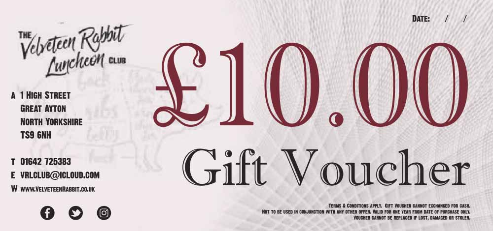 £10 Gift Voucher to Spend at The Velveteen Rabbit Luncheon Club in Great Ayton